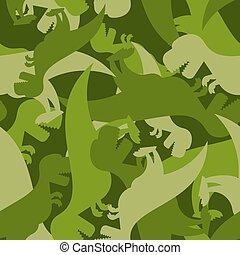 Military pattern dinosaur. Army texture of Tyrannosaurus....