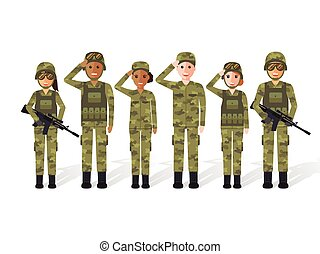 Military people - Group of US army, military people, man and...