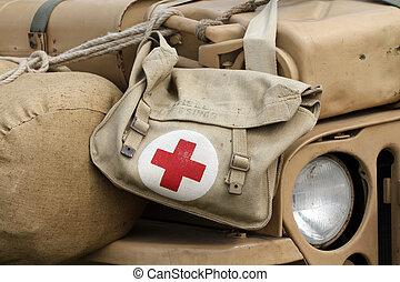 Military pharmacy kit on US Army vehicle