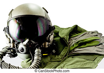 Military pilot flight suit with pilot glove & Flight helmet with oxygen mask