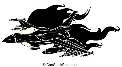 Military plane fired a missile. Fighter jet vector illustration.