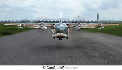 military plane take off from runway