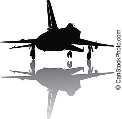 Military plane take off - Vector silhouette of jet fighter...