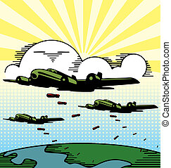 Military Planes - Cartoon illustration of military planes...