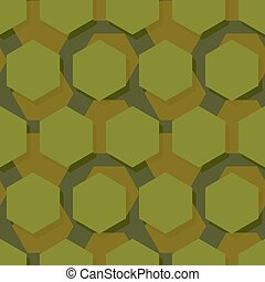 Military polygonal seamless pattern. Army abstract hexagon texture. Protective ornament for soldiers. Green soldiery background. war khaki for hunters and troops