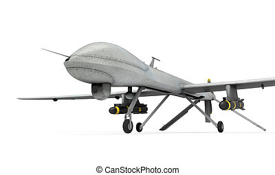Military Predator Drone isolated on white background. 3D...