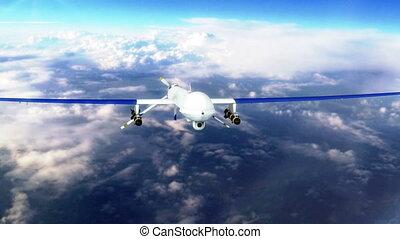 Military Predator Drone Flying closeup