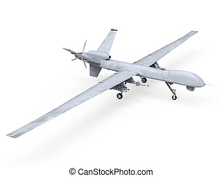 Military Predator Drone isolated on white background. 3D ...