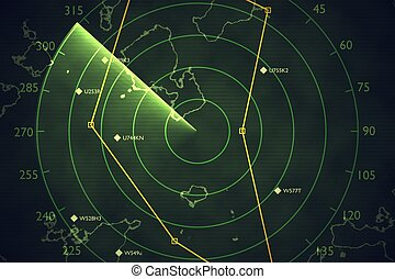 Military radar screen is scanning air traffic. 3D rendered illustration.