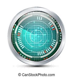 Military Radar Screen Vector. Targets On Military...