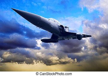 military repülőgép, képben látható, a, gyorsaság