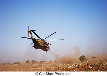 Military Rescue Helicopter in Rescue mission
