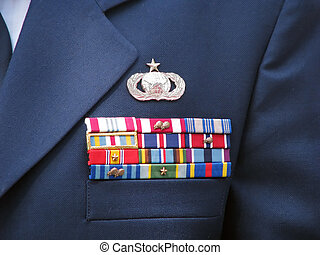 awards and decorations ribbons on military dress uniform