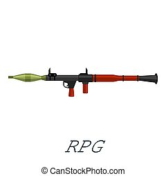 Military rifle army anti tank rocket grenade gun isometric...