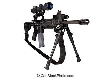 Military Rifle - Machine gun isolated over a white...
