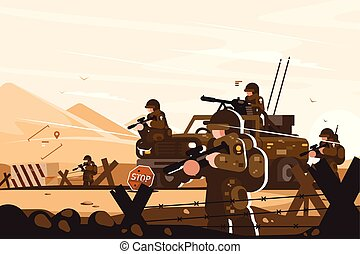 Military roadblock with soldiers vector illustration. Men of...