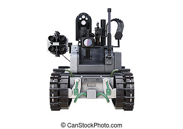 Military robot tank, front view