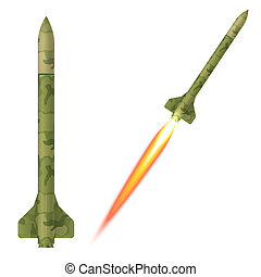 Military rockets on a white background. Vector illustration