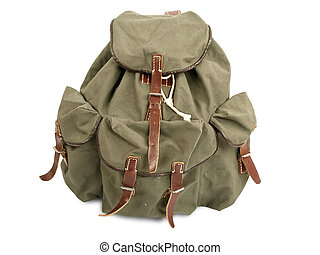 Military rucksack - old military backpack isolated on white ...