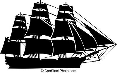 Military sailboat ,19th century