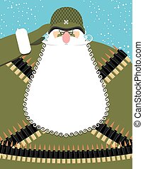 Military Santa Claus. Old soldier with beard and mustache. Military equipment: machine gun belt. Bold festive character is a veteran of fighting. Good Christmas old man defending Christmas.