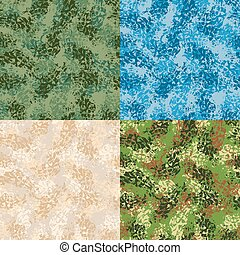 Military seamless pattern. Set army texture. Protective ornament for soldiers. Blue Winter War pattern. Texture hacks for hunters and military. Set Army ornament for desert, jungle and swamp