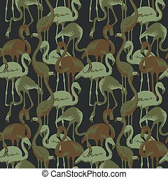 Military Seamless Pattern with Tropical Birds Flamingo. Camouflage Background. Camo Fashion Texture. Army Uniform. Vector illustration