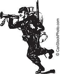 Military servicemen silhouette