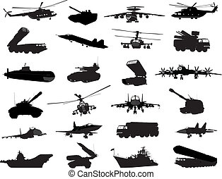 Military set - Detailed weapon silhouettes set. Vector on...