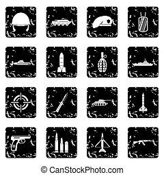 Military set icons, grunge style