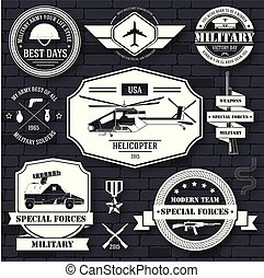 military set label template of emblem element for your product or design, logo, element, web and mobile applications with text. Vector illustration with thin lines isolated icons on stamp symbol