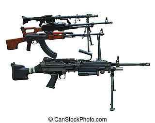 Military set of modern weapons machine guns arms isolated on white