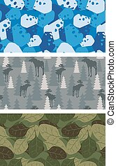 Military set of textures. Winter blue Camo made of cheese. Grey Camouflage army seamless Moose and trees. Soldier's seamless background from leaves.