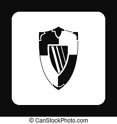 Military shield with pattern icon, simple style