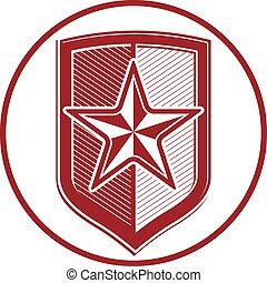 Military shield with pentagonal comet star, protection heraldic sheriff blazon. Army symbol, sheriff badge.