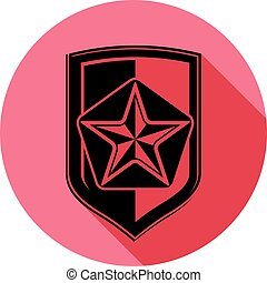 Military shield with pentagonal comet star, protection heraldic sheriff blazon. Army symbol, sheriff badge.