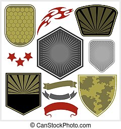 Military shields and elements - vector set. - Army shields...