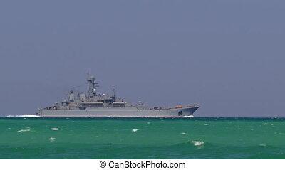 Military Ship At The Sea