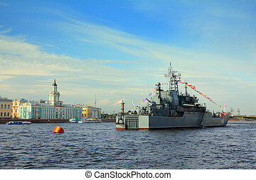 SAINT-PETERSBURG, RUSSIA - JULY 29, 2012: military ship on Neva River - day of the Navy in Saint-Petersburg, Russia, 29 july 2012