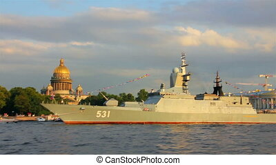 military ship on Neva River - day of the Navy in St. Petersburg