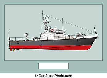 Military ship. Small patrol boat. Poster with a detailed image of a warship.