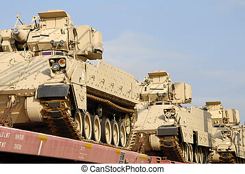 Military Shipment - A freight train loaded with a shipment...