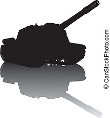 Military silhouette - WW2 tank vector silhouette with...