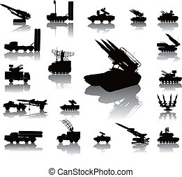 Military silhouettes - Anti-aircraft warfare silhouettes set...