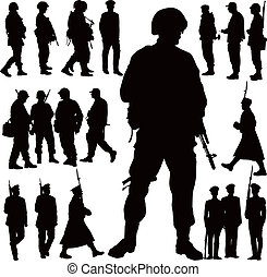 Military silhouettes - Soldiers and police vector...