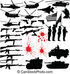 Military silhouettes - Set of various military related...