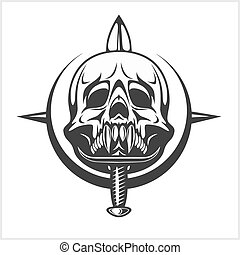 Military Skull - Chevron with daggers