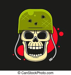 Military Skull In A Hard Hat With Machine Guns On A White Background Typography Illustration, Can Be Used As A Print For T'shirts, Bags, Cards And Posters.