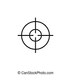 Military sniper rifle scope collimator sight icon.