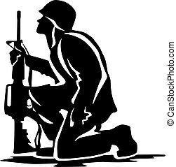 Military Soldier Kneeling Silhouette Vector Illustration -...